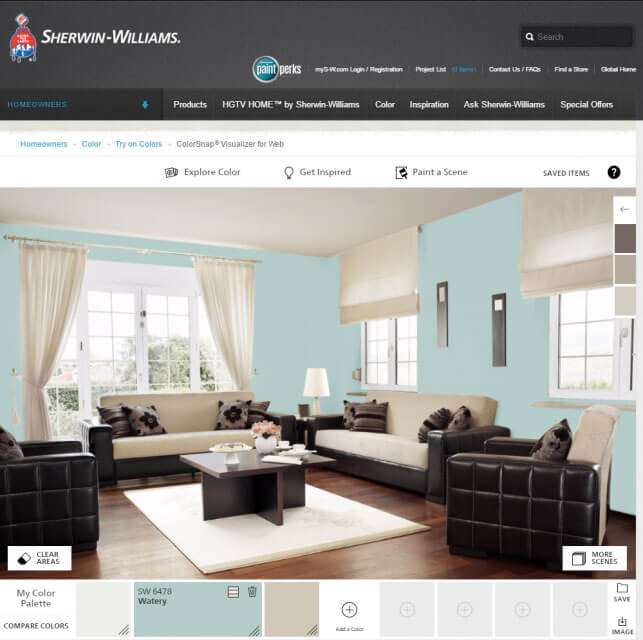 Virtual painting free paint tool tests color in your home for Sherwin williams virtual painter