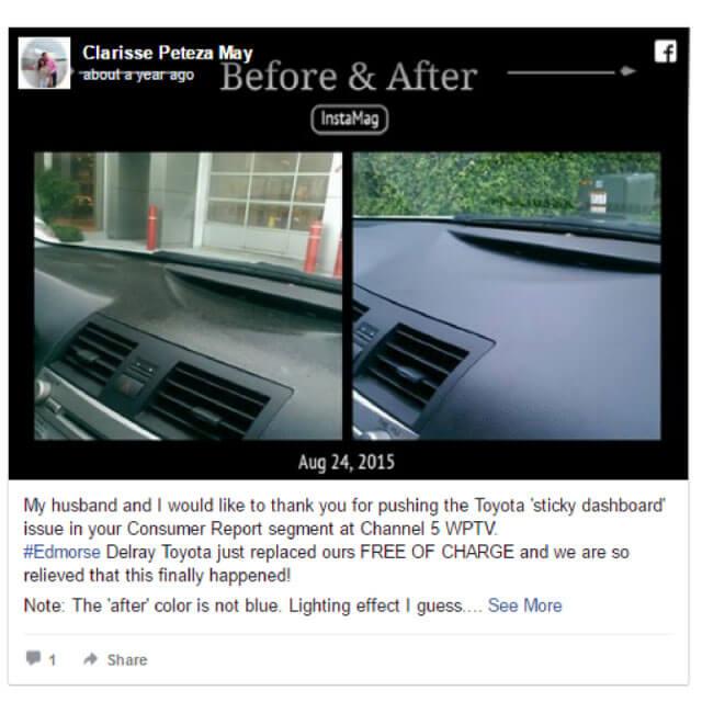 free melting dashboard repairs